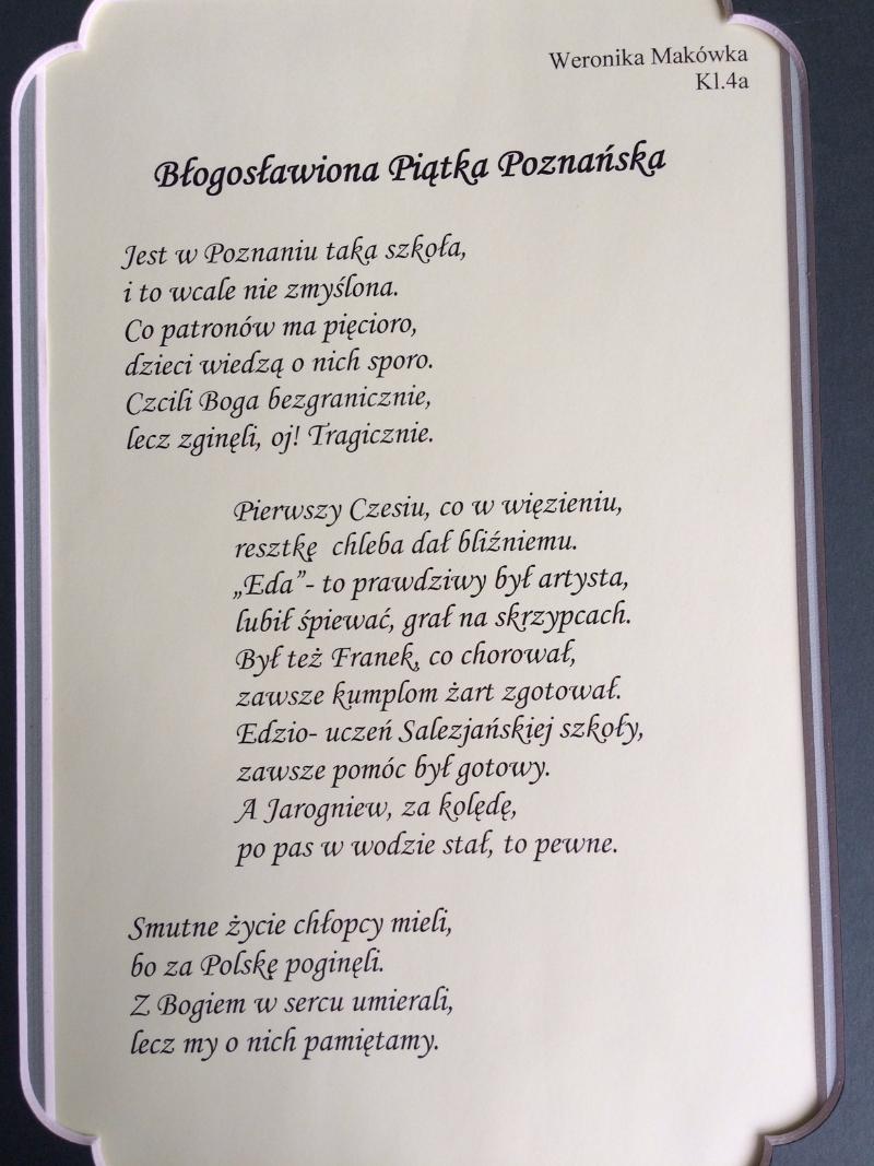 Nasze Wiersze Zespół Szkół Salezjańskich W Poznaniu